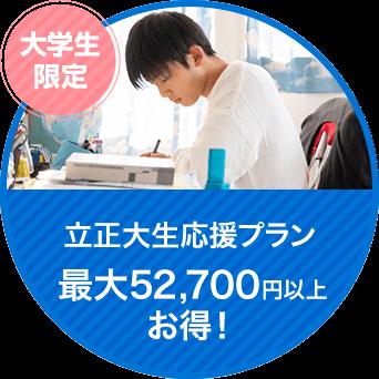 立正大生応援プラン 最大70,700円以上 お得!